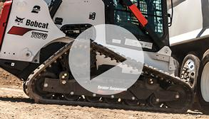 Bobcat track loader showing new 5-link torsion suspension undercarriage feature.