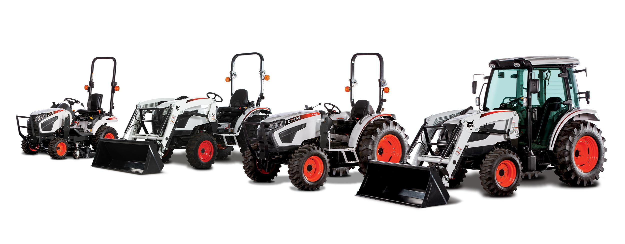 Bobcat Compact Tractor Lineup With Tractor Attachments.