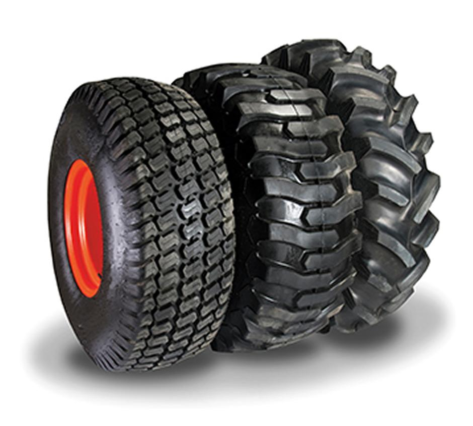 Bobcat tractor tire options from left to right: turf tire, industrial tire, agricultural tire