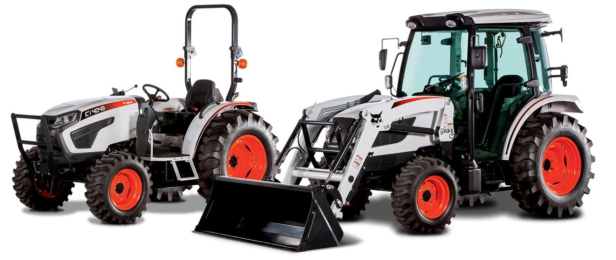 Two Bobcat compact tractors on a white background.