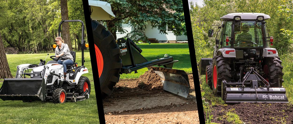 Photo montage of Bobcat compact tractors using various 3-point implements: rotary cutter, angle blade and tiller.