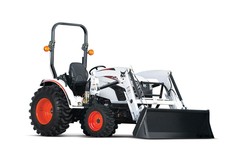Studio Shot Of Bobcat CT2035 Compact Tractor Model With Front-End Loader Attachment.