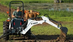 Bobcat CT4045 Digging Hole With Backhoe Attachment On Acreage