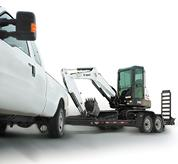 Bobcat compact excavator (mini excavator) with integrated slew brakes.