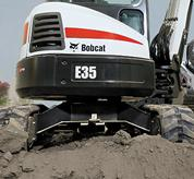 Bobcat compact excavator (mini excavator) with X-frame undercarriage.