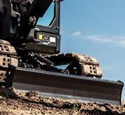 Angle blade on Bobcat R-Series compact (mini) excavator.