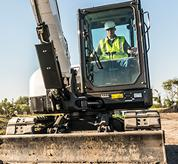 Bobcat R-Series E85 excavator has extended greasing intervals.