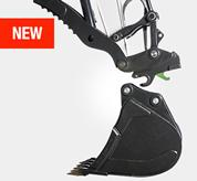 Bobcat R-Series E85 excavator with close up shot of hydraulic pin grabber.