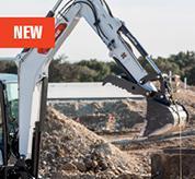 Operator Using Bobcat Mini Excavator With Integrated Lift Eye