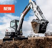 Operator Using R2-Series Compact Excavator With Longer-Life Fuel Filter