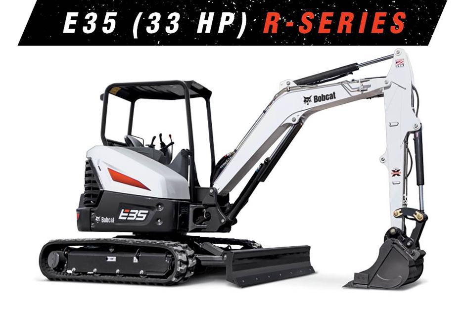Studio Image Of A Bobcat E35 (33 hp) Mini Excavator