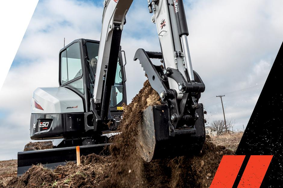 R2-Series Compact Excavator Aggressively Digging On Jobsite