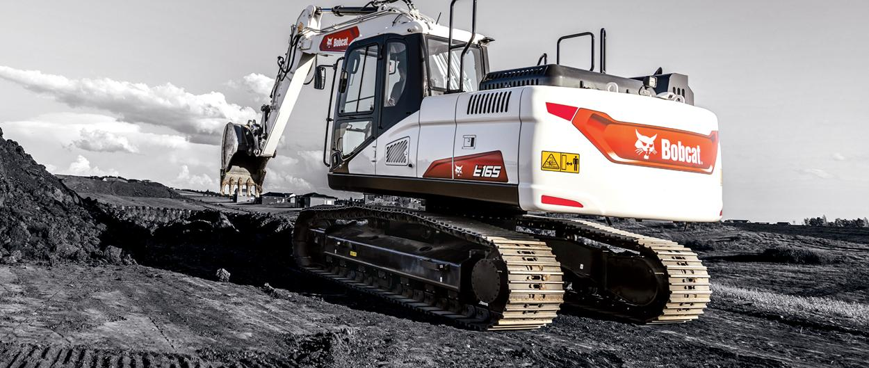 Bobcat E165 Large Excavator With Bucket Attachment On Jobsite With Black And White Treatment