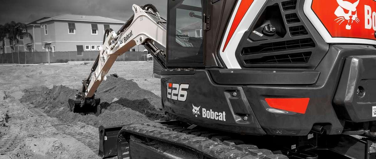 Bobcat E26 Compact (Mini) Excavator in black and white.
