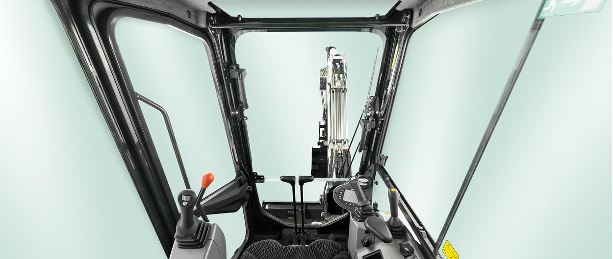 Bobcat E32 R-Series compact (mini) excavator view from the operator..