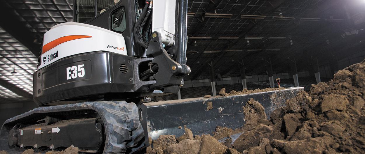 Bobcat E35 compact excavator (mini excavator) with angle blade.
