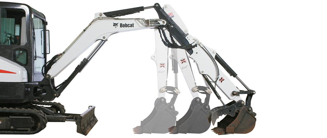Bobcat E35 compact excavator (mini excavator) with optional extendable arm.