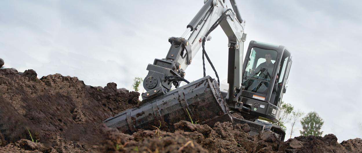 Bobcat E50 compact excavator (mini excavator) with compact frame.