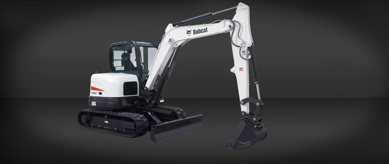 Bobcat E63 compact excavator with conventional tail swing.