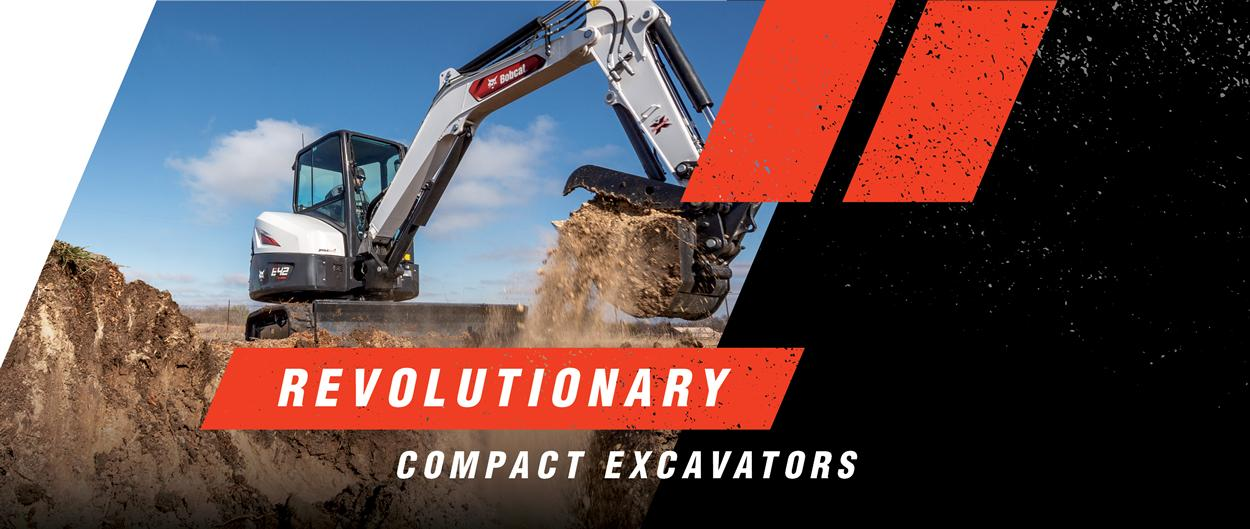 Graphic Of Bobcat Compact (Mini) Excavator With Overlay Text Revolutionary, Enhanced Features Help You Push The Limits To Do More