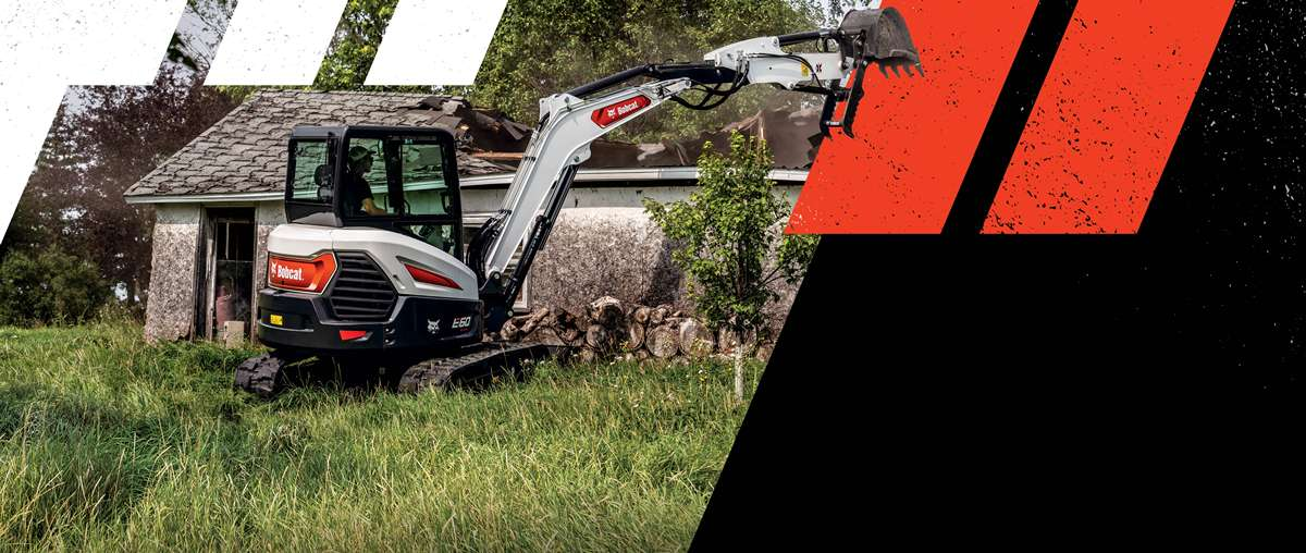 Bobcat E60 Compact Excavator Operator Demoing A Old House.