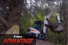 Video featuring a Bobcat E42 compact (mini) excavator with a grapple attachment and the Bobcat Advantage logo.