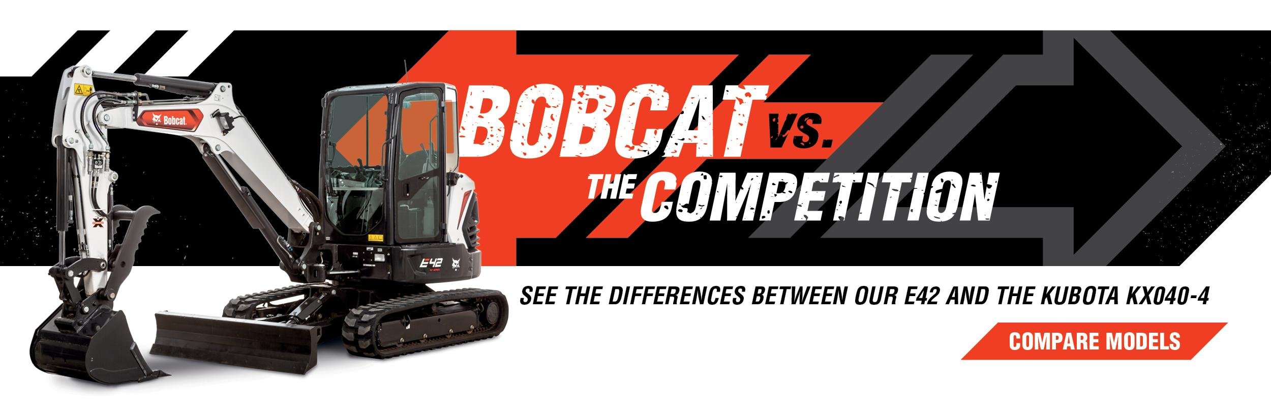 Bobcat E42 Mini Excavator Vs. Kubota KX040-4 Compare Models Banner