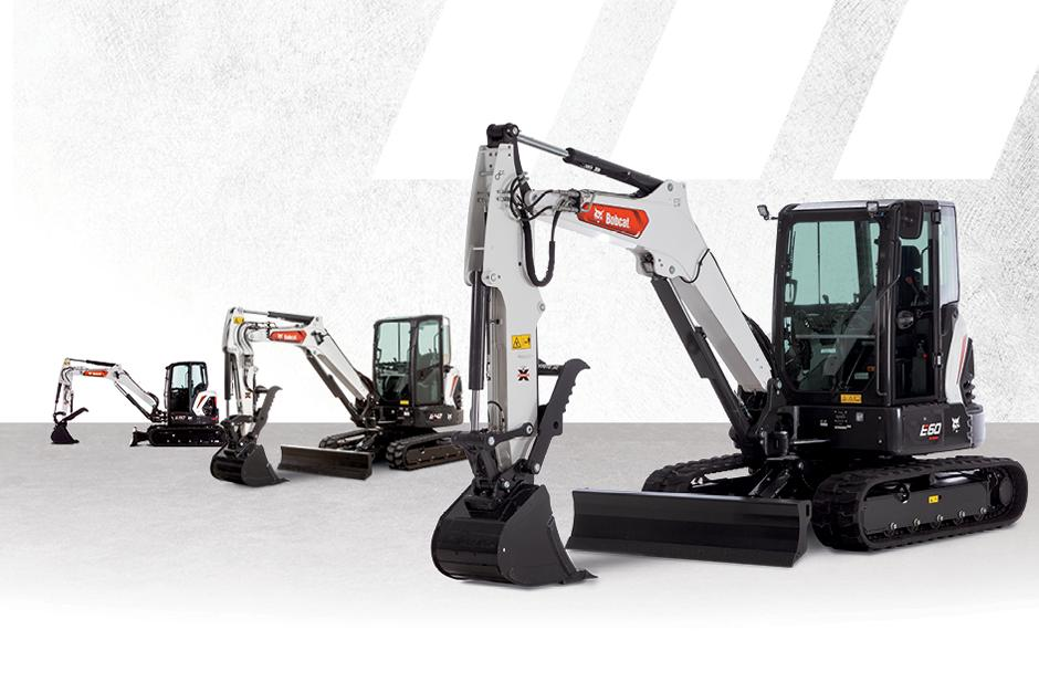 Graphic Featuring Lineup Of Three R2-Series Excavators