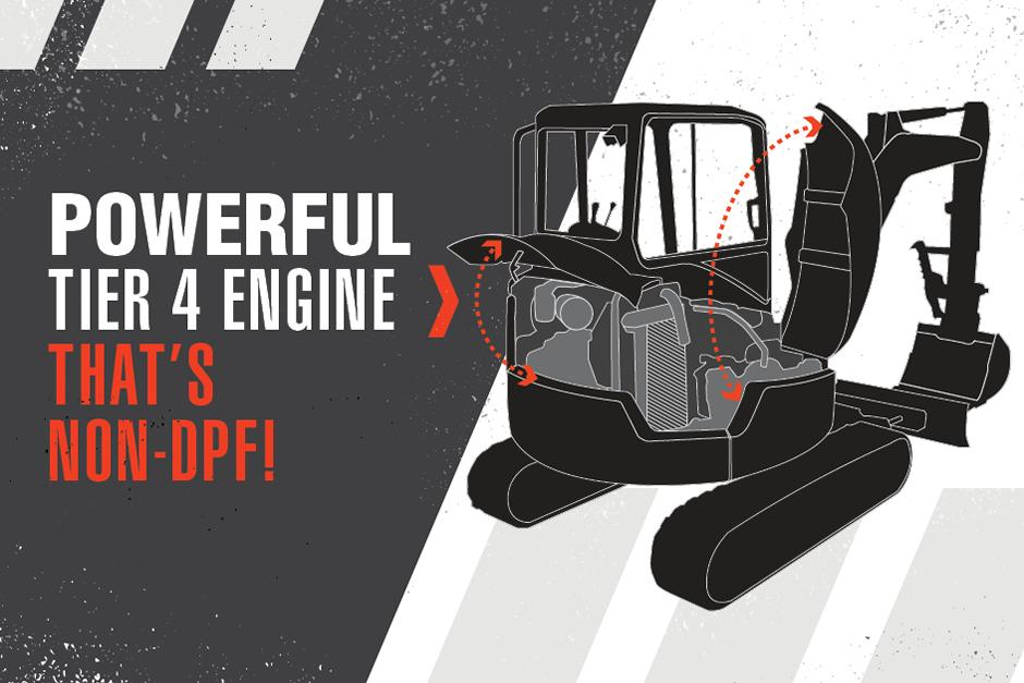 Graphic Featuring Bobcat Compact Excavator With Text Reading Powerful Tier 4 Engine That's Non-DPF!