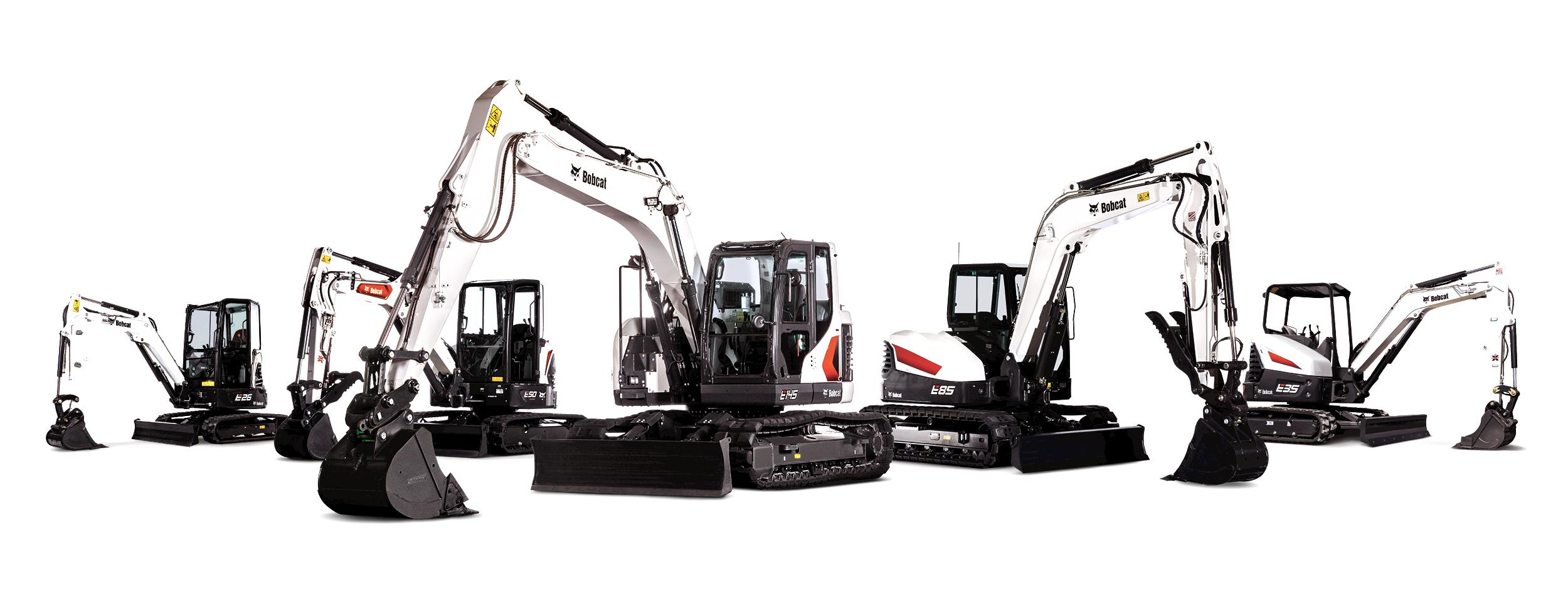 Line Up Of Five Bobcat Excavator Studio Images, From Compact To Large, Equipped With A Range Of Excavator Attachments