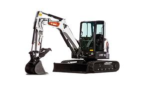 Bobcat E42 Compact Excavator With Clamp Attachment And Dozer Blade
