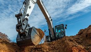 Bobcat E145 Large Excavator Digging A Hole.