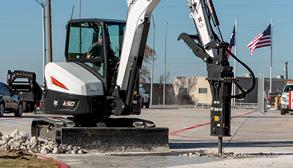 Bobcat Excavators Using Excavator Attachments On Construction Jobsite
