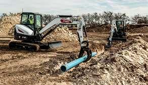 Bobcat Compact Excavators On A Construction Jobsite.