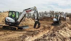 Bobcat Mini Excavators On Construction Jobsite