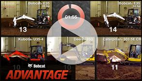 Video of Bobcat compact (mini) excavators and other brands in a digging cycle test.