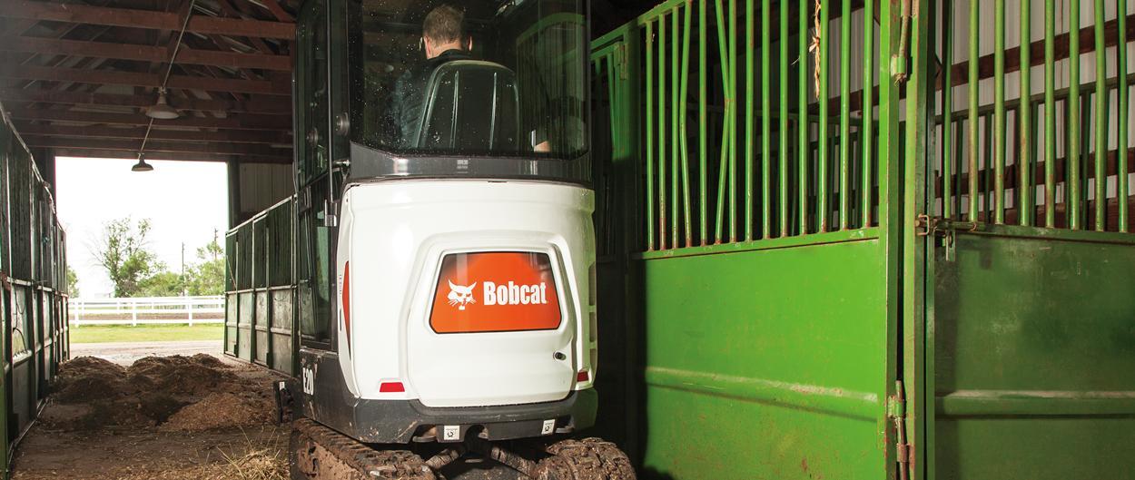 Bobcat E20 compact excavator (mini excavator) with retractable undercarriage.