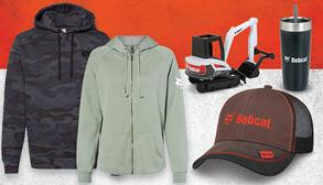 Graphic Featuring Lineup Of Bobcat-Branded Apparel Including Two Sweatshirts, A Shirt, A Hat, A Tumbler and An Excavator Toy