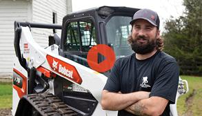 Video Graphic Of Veteran Next To His New Bobcat T76 Compact Track Loader