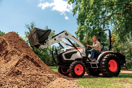 Bobcat compact tractor with 3-point ballast box.