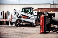Bob-Dock attachment mounting system with T650 compact track loader in the background.