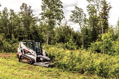 Bobcat Brushcat rotary cutter attachment is used to maintain a trail by clearing weeds and brush.