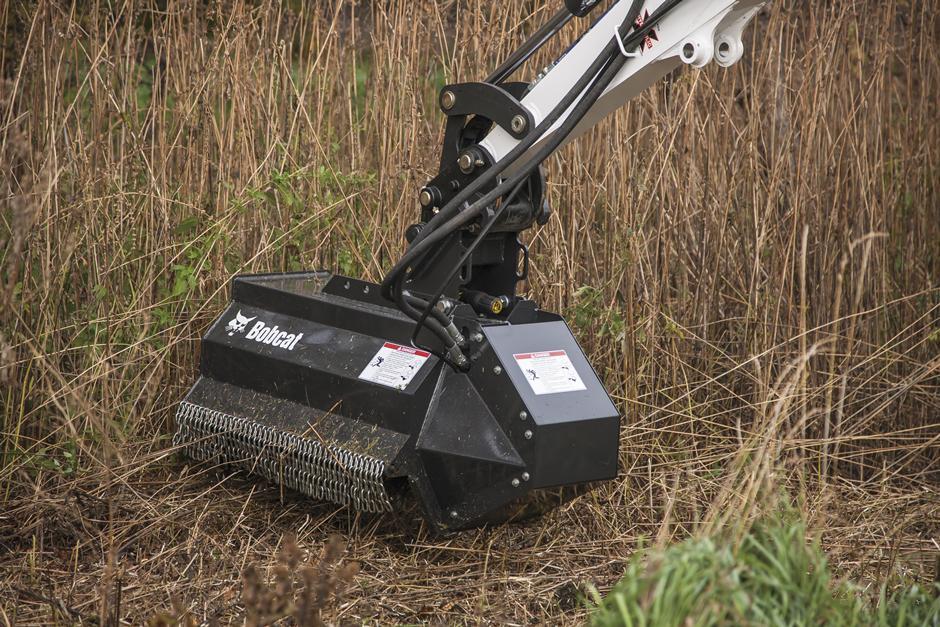 Bobcat Flail Mower Attachment Mowing Down Tall Grass