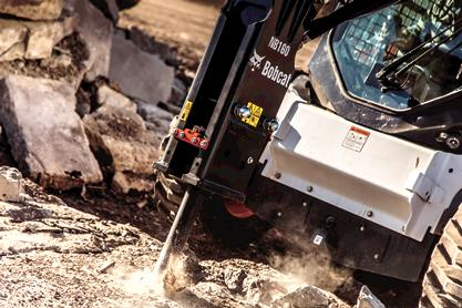 Bobcat nitrogen breaker attachment and S770 skid-steer loader.