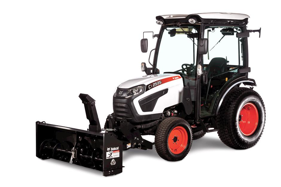 Studio Photo Of A Bobcat CT2535 With Front Mount Snowblower Attachment