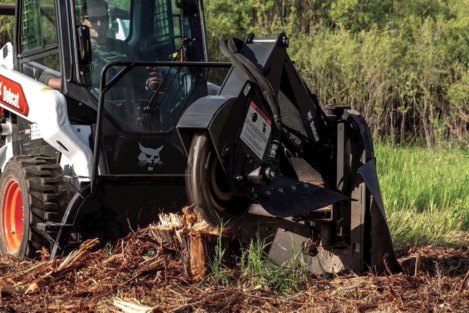 Bobcat Skid-Steer Loader With Stump Grinder Attachment Removing Stump