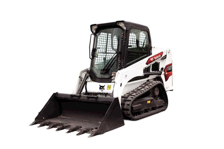 Studio Image Of Bobcat T450 Compact Track Loader With Rock Bucket Attachment