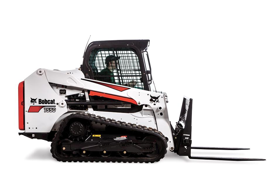 Bobcat T550 Compact Track Loader knock out image with pallet fork.