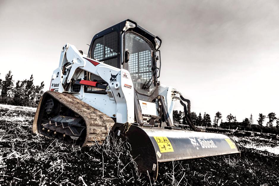 Bobcat T650 Compact Track Loader with Tiller.