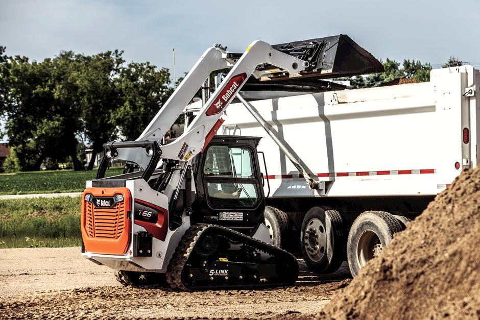 Bobcat T66 Compact Track Loader Dumping Dirt Into Drump Truck
